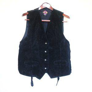 Caviar suede leather button up vest